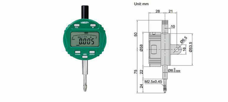 Đồng Hồ So Điện Tử INSIZE 2104-10F (12.7mm/0.01mm)