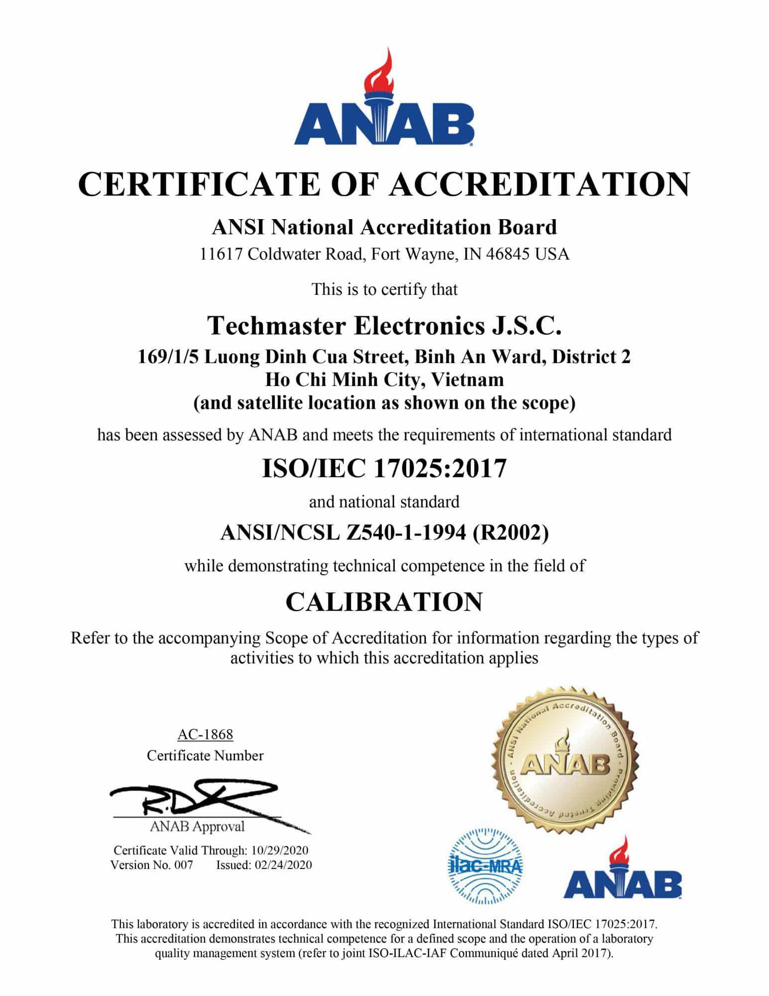 Năng Lực Hiệu Chuẩn ISO/IEC 17025:2017