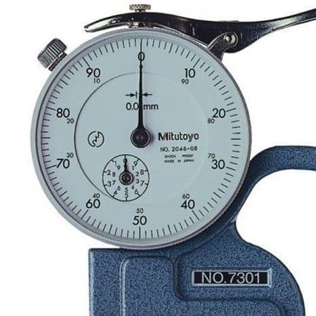 Đồng Hồ Đo Độ Dày Vật Liệu Kiểu Cơ MITUTOYO 7301 (0-10mm/ 0.01mm)