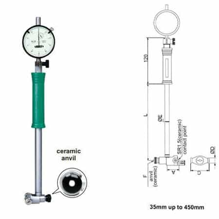 Đồng hồ đo lỗ INSIZE, 2322-450A, 250-450mm/ 0.01mm