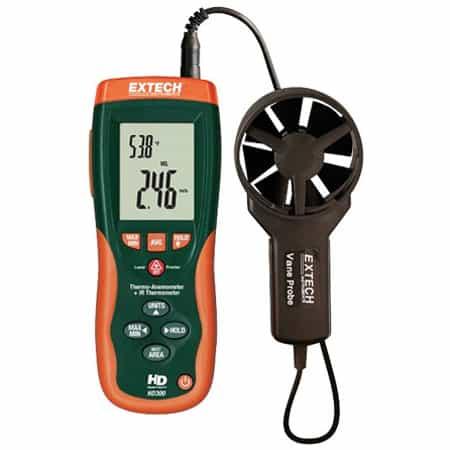 Máy đo nhiệt độ - tốc độ, lưu lượng gió Extech HD300 (0.4-30m/s, tích hợp đo nhiệt độ hồng ngoại)