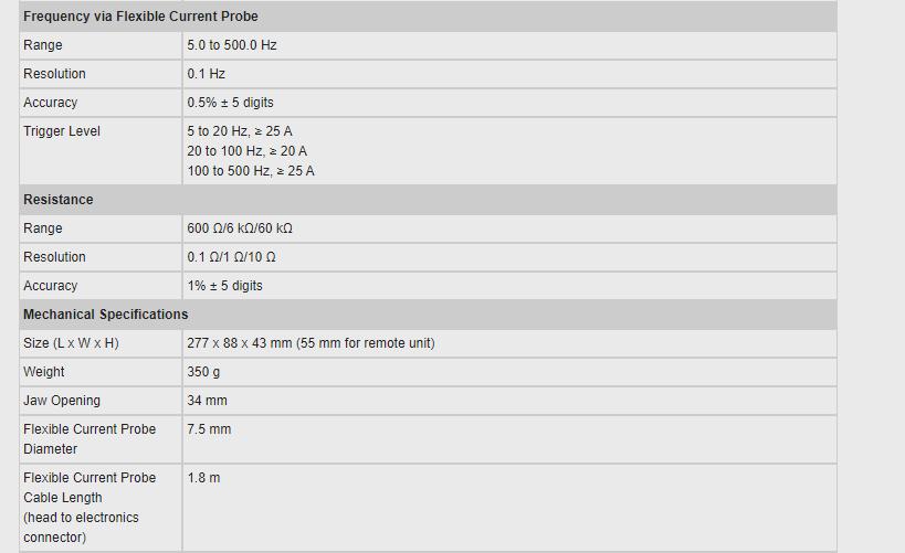 Spec Fluke 381 DC Frequency