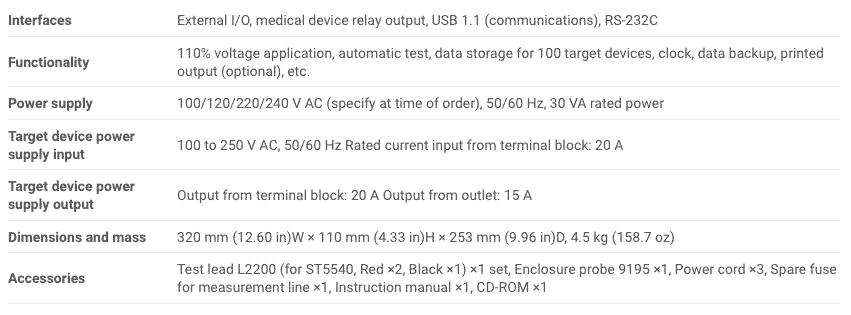 Spec Hioki ST5540 Leak Current Hitester (3)