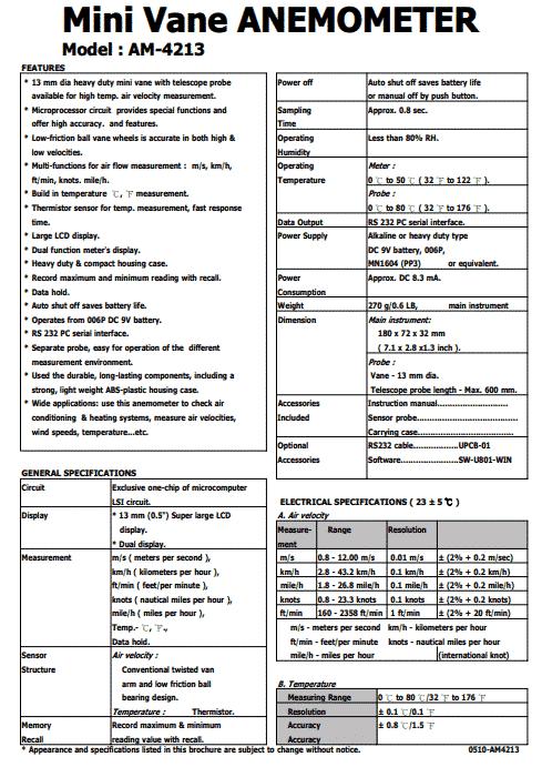 Spec Máy đo tốc độ gió Lutron AM-4213