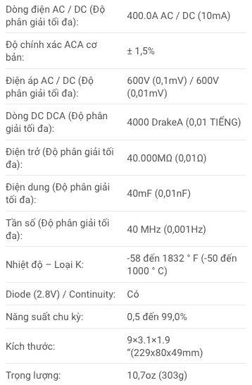Thông số kỹ thuật Ampe Kìm Extech EX613