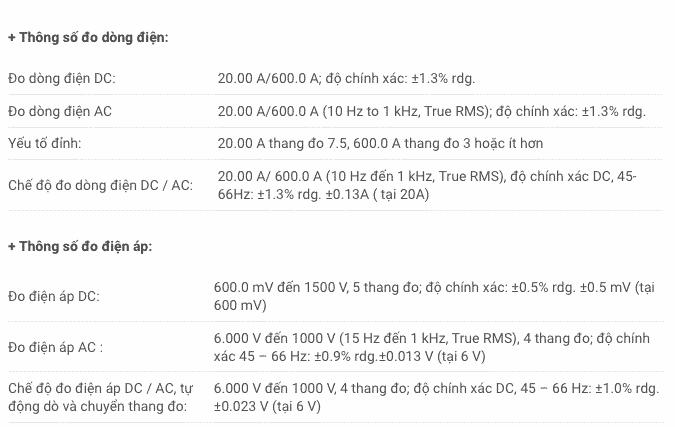 Thông số kỹ thuật Ampe Kìm Hioki CM4371 (1)