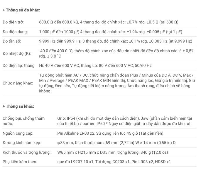 Thông số kỹ thuật Ampe Kìm Hioki CM4371 (2)
