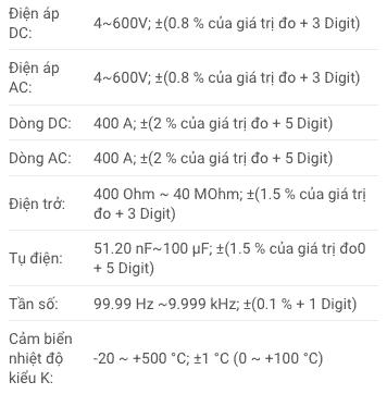 Thông số kỹ thuật Ampe Kìm Testo 770-2