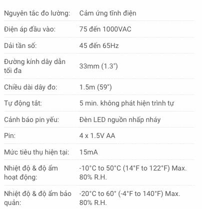 Thông số kỹ thuật Đồng Hồ Chỉ Thị Pha Extech PRT200