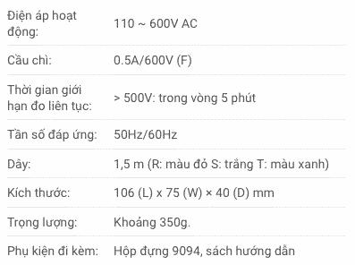 Thông số kỹ thuật Đồng Hồ Chỉ Thị Pha Kyoritsu 8031F