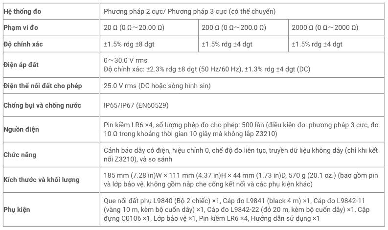 Thông số kỹ thuật Máy Đo Điện Trở Đất Hioki FT6031-50