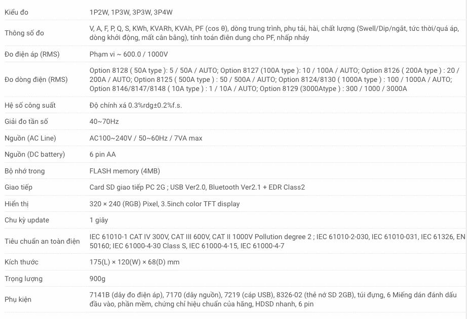 Thông số kỹ thuật Máy phân tích công suất Kyoritsu 6315-00