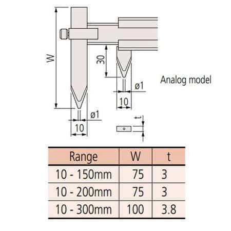 Thước cặp cơ khí mỏ có thể di chuyển được Mitutoyo, 536-107, 10-300mm, 0.05mm