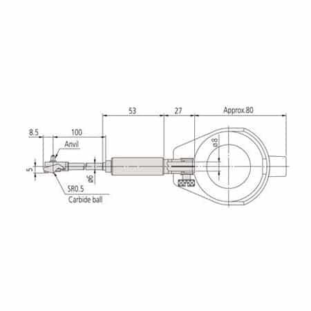 Đồng hồ đo lỗ nhỏ Mitutoyo 511-203 (10-18.5mm/ 0.001mm, bao gồm đồng hồ so)