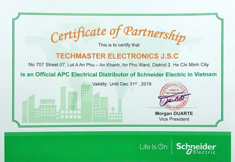 Schneider Authorized Certificate 2019