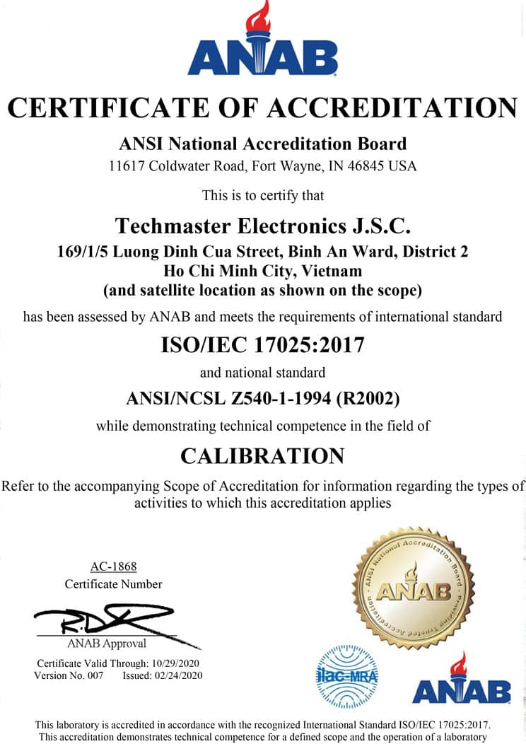ANAB Certificate Of Accreditation